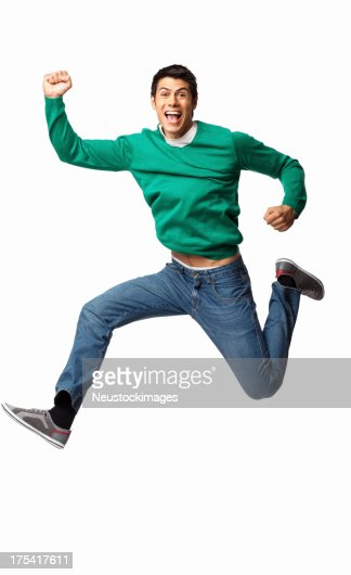 Ecstatic Young Man Cheering - Isolated