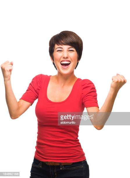 Ecstatic young woman celebrating