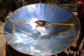 Directly below the sun on the equator, a parabolic  mirror is used to boil eggs.