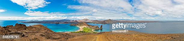 Ecuador, Galapagos Islands, Bartolome, Pinnacle Rock with view to Santiago