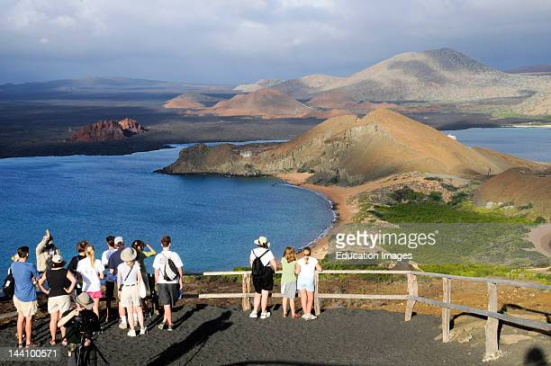 Ecuador Galapagos Islands Inlet Tourists Volcanic Mountainis