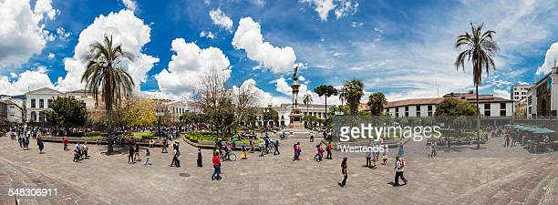 Ecuador, Quito, panoramic view over Independence Square with the Liberty Statue