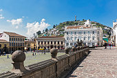 Ecuador, Quito, Plaza de San Francisco with Hotel Casa Gangotena and El Panecillo in background