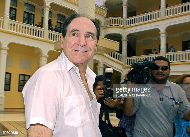 Ecuador' s former President Abdala Bucaram arrives to the Foreign Affairs Ministry in Panama 27 April 2005 seeking political asylum after a week of...