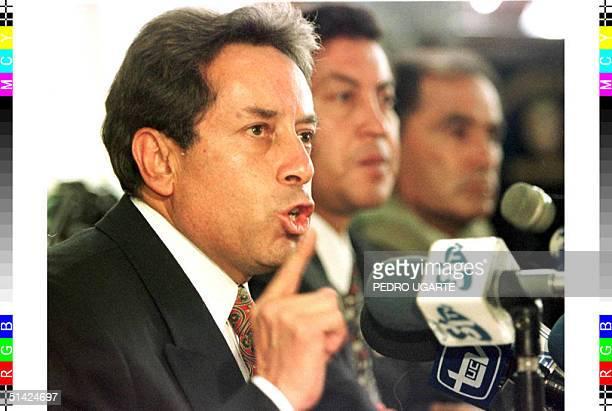 Ecuadoran Interim President Fabian Alarcon talks to the press 08 February in Quito Alarcon announced that he will begin naming his cabinet members in...