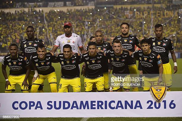 Ecuadorean Barcelona team players pose during their 2016 Copa Sudamericana football match at Monumental stadium in Guayaquil Ecuador on August 10...
