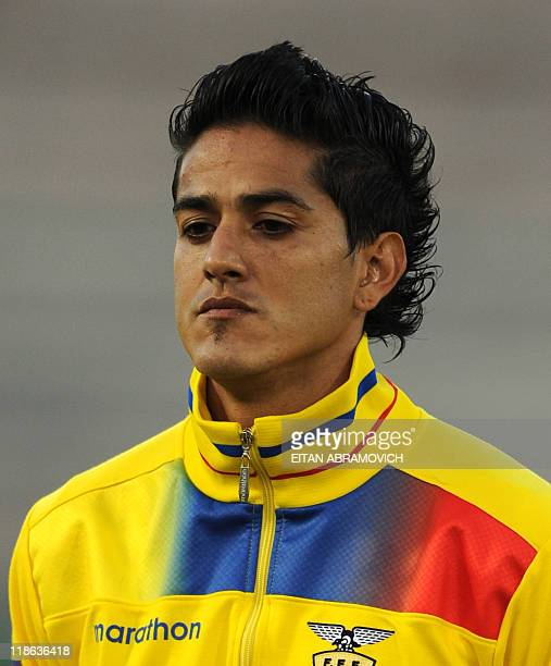 Ecuadorean defender Norberto Araujo poses before a 2011 Copa America Group B first round football match held at the Padre Ernesto Martearena stadium...