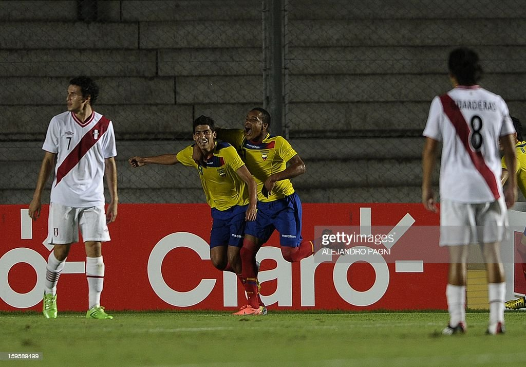 Ecuadorean forward Jose Cevallos (2L) celebrates after scoring the team's second goal against Peru during the South American U-20 Championship Group B football match, at Bicentenario stadium in San Juan, Argentina, on January 16, 2013. Four South American teams will qualify for the FIFA U-20 World Cup Turkey 2013. Ecuador won by 2-1. AFP PHOTO / ALEJANDRO PAGNI