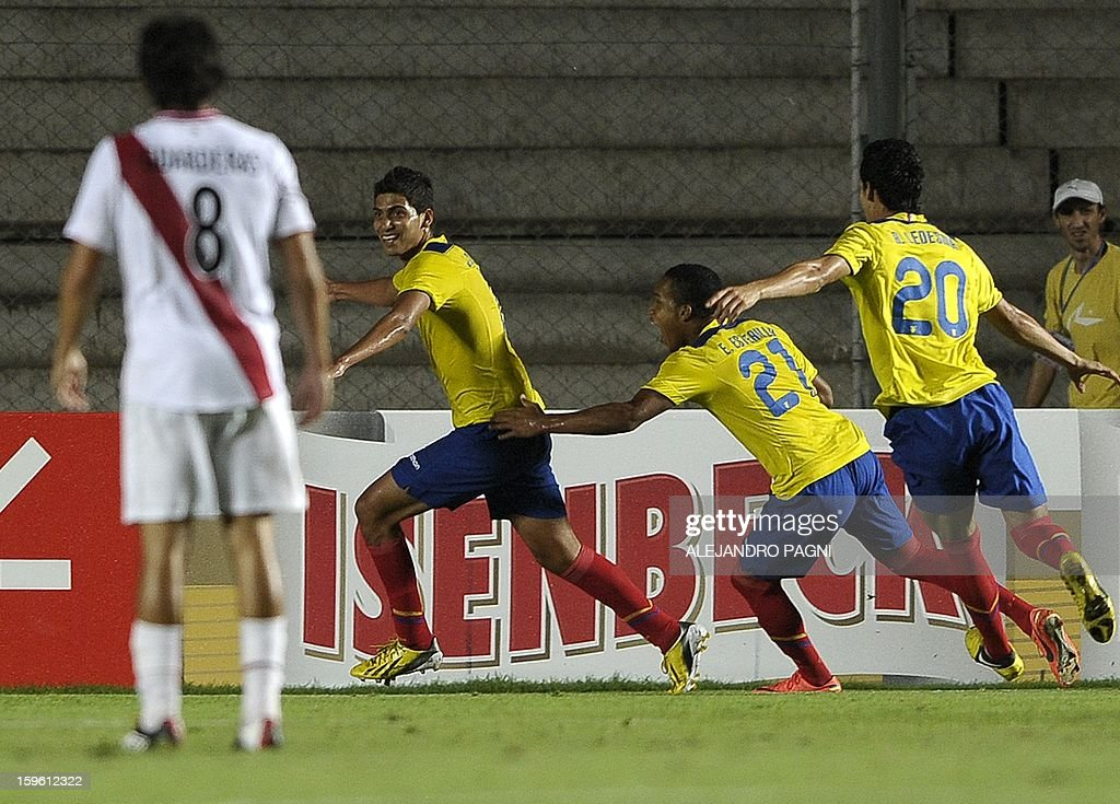 Ecuadorean forward Jose Cevallos (2nd-L) celebrates with teammates after scoring the team's second goal against Peru during their South American U-20 Championship Group B football match, at Bicentenario stadium in San Juan, Argentina, on January 16, 2013. Four South American teams will qualify for the FIFA U-20 World Cup Turkey 2013. Ecuador won by 2-1.