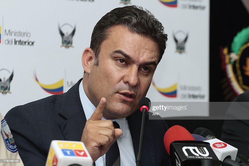 Ecuadorean Interior Minister <b>Jose Serrano</b> speaks during a press conference <b>...</b> - ecuadorean-interior-minister-jose-serrano-speaks-during-a-press-in-picture-id178256134