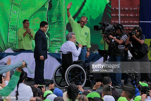 Ecuadorean Lenin Moreno presents Ecuadorean VicePresident Jorge Glas as his running mate after he was annouced as presidential candidate for the...