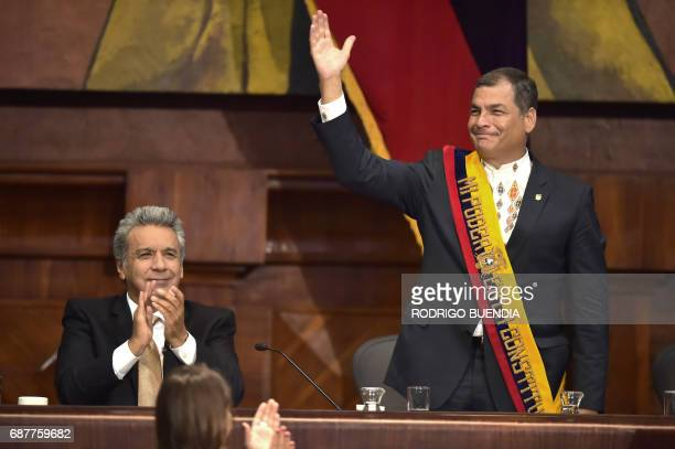 Ecuadorean new President Lenin Moreno and outgoing President Rafael Correa are pictured at the National Assembly in Quito on May 24 2017 during the...