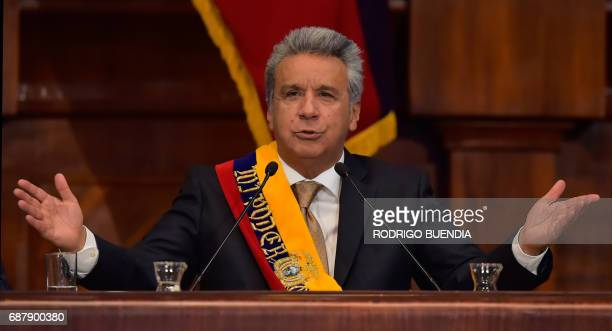 Ecuadorean new President Lenin Moreno gestures during the inauguration ceremony at the National Assembly in Quito on May 24 2017 Ecuador's new...