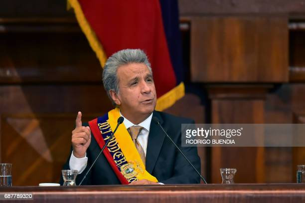 Ecuadorean new President Lenin Moreno speaks during his inauguration ceremony at the National Assembly in Quito on May 24 2017 Ecuador's new...