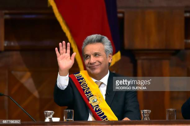 Ecuadorean new President Lenin Moreno waves during his inauguration ceremony at the National Assembly in Quito on May 24 2017 Ecuador's new president...