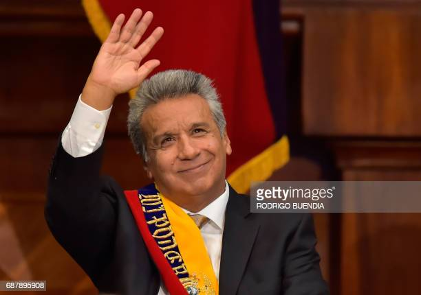 Ecuadorean new President Lenin Moreno waves during the inauguration ceremony at the National Assembly in Quito on May 24 2017 Ecuador's new president...