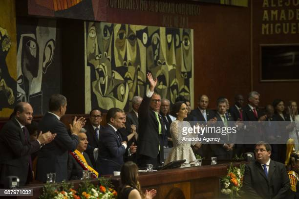 Ecuadorean new VicePresident Jorge Glas gestures next to his wife Cinthia Diaz Aveiga at Ecuadorean National Asssembly during Ecuadorean new...