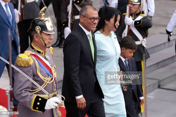 Ecuadorean new VicePresident Jorge Glas leaves the National Assembly next to his wife Cinthia Diaz Aveiga after his inauguration ceremony in Quito on...