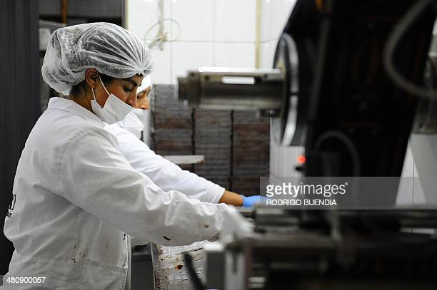 Ecuadorean Pacari Chocolates employees prapare chocolate bars for packing at the factory in southern Quito on March 25 2014 Pacari Chocolates is a...