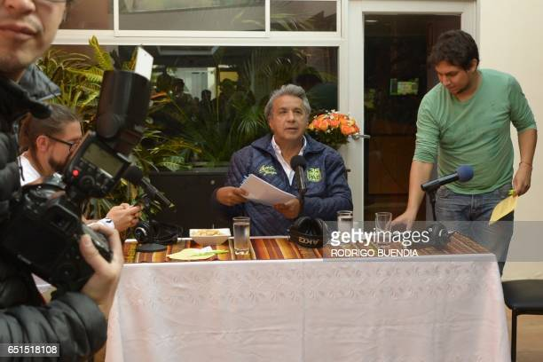 Ecuadorean presidencial candidate Lenin Moreno is seen after an interview at a local radio in Quito on March 10 2017 Campaign opened for Ecuador's...