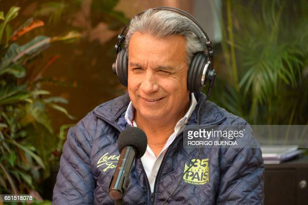 Ecuadorean presidencial candidate Lenin Moreno speaks during an interview at a local radio in Quito on March 10 2017 Campaign opened for Ecuador's...