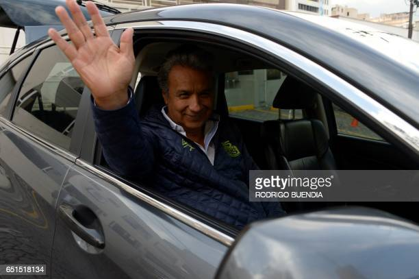 Ecuadorean presidencial candidate Lenin Moreno waves after an interview at a local radio in Quito on March 10 2017 Campaign opened for Ecuador's...