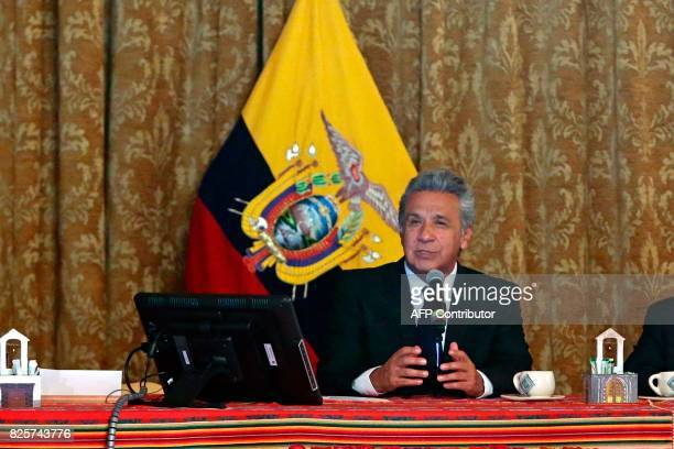 Ecuadorean President Lenin Moreno delivers a press conference in Quito on August 2 2017 Moreno encouraged his ministers to report any irregularity of...