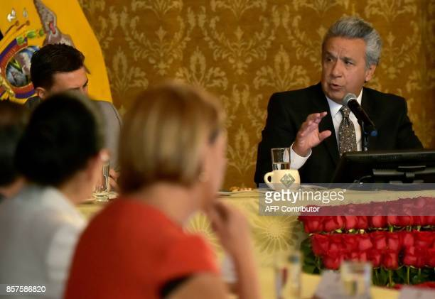 Ecuadorean President Lenin Moreno speaks with the press during a meeting at Carondelet Palace in Quito on October 4 2017 Ecuador's vice president...