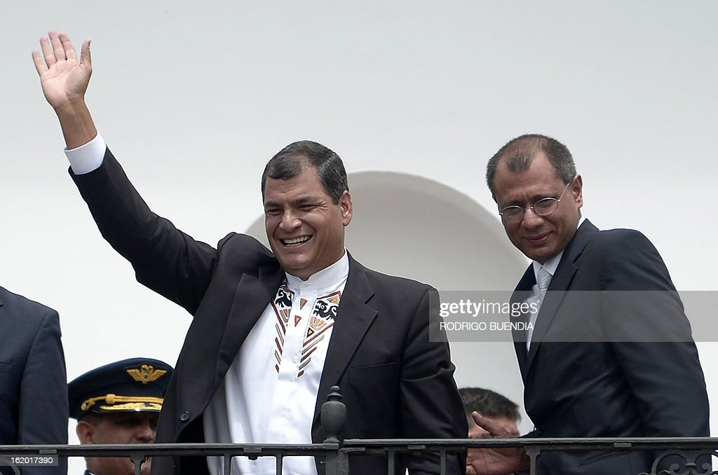 Ecuadorean President Rafael Correa (L) and Vice-President elect Jorge Glass, celebrate their victory on Sunday's general election, at Carondelet presidential palace in Quito on February 18, 2013. Fresh from a landslide re-election victory, President Rafael Correa hoped Monday to match it with a sweeping legislative win needed to clear the way for deeper socialist changes in Ecuador. AFP PHOTO/RODRIGO BUENDIA