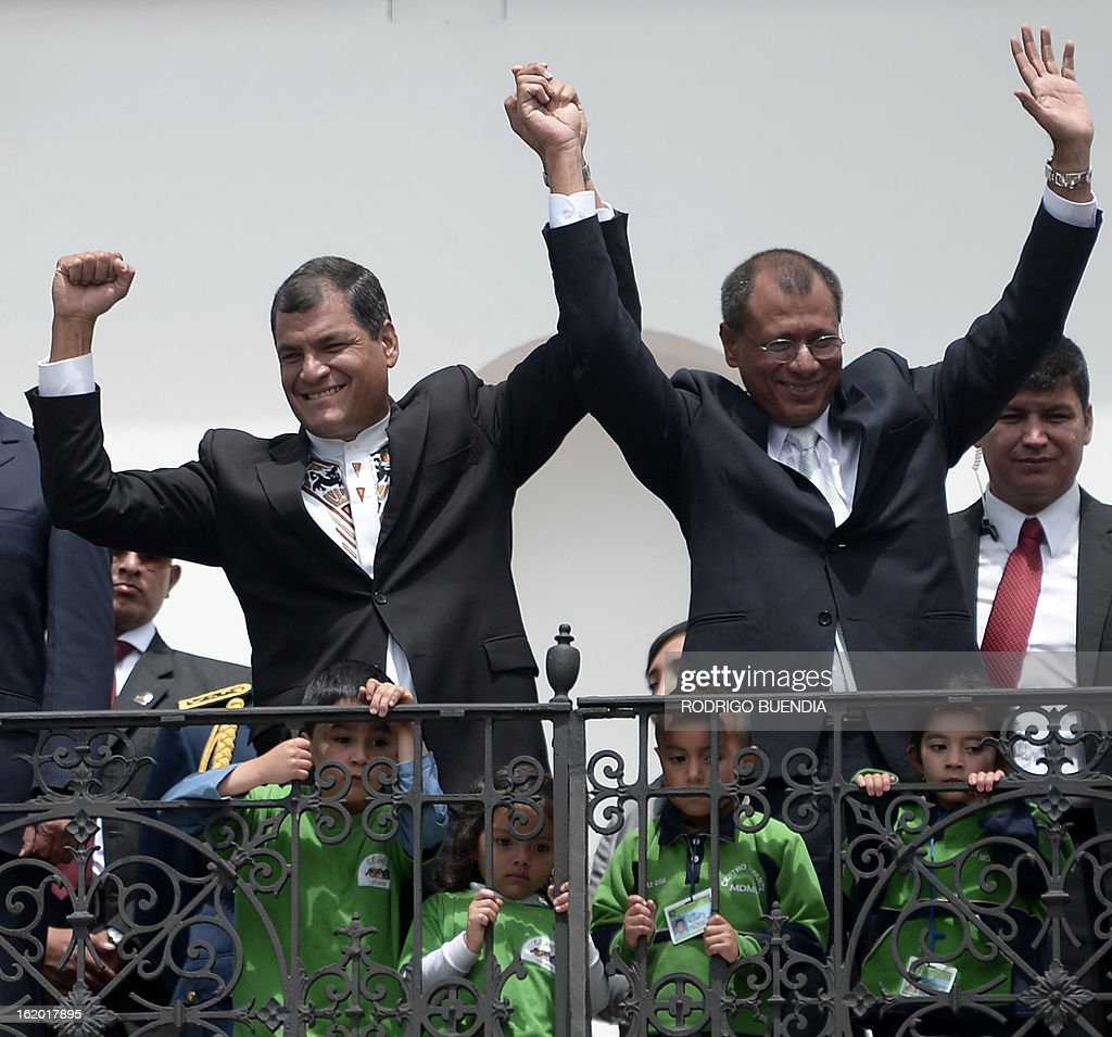 Ecuadorean President Rafael Correa (L) and Vice-President elect Jorge Glass, celebrate their victory on Sunday's general election, at Carondelet presidential palace in Quito on February 18, 2013. Fresh from a landslide re-election victory, President Rafael Correa hoped Monday to match it with a sweeping legislative win needed to clear the way for deeper socialist changes in Ecuador.
