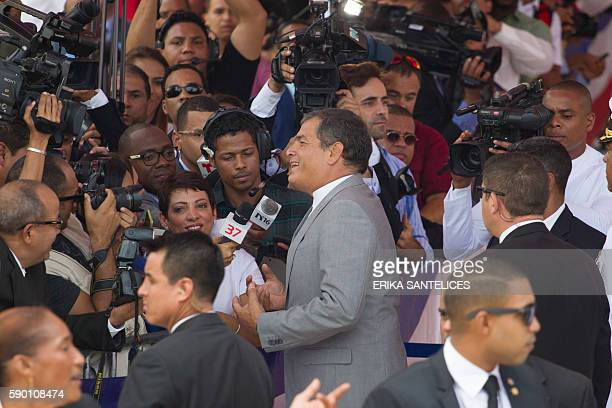 Ecuadorean President Rafael Correa arrives at the National Congress forn the inauguration of President Danilo Medina on August 16 2016 / AFP / afp /...