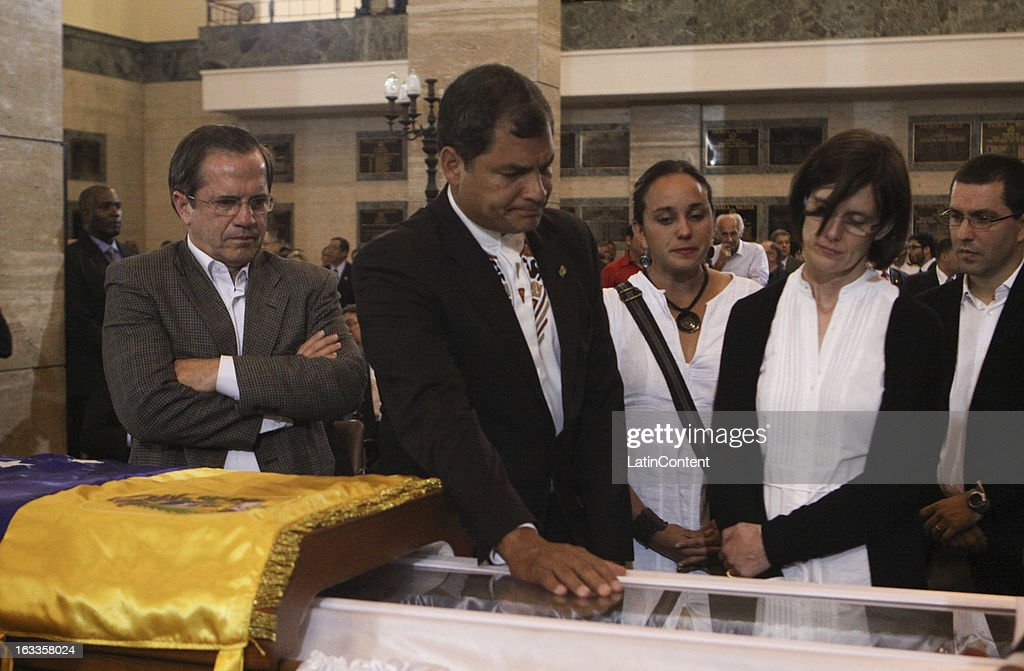 Ecuadorean President <a gi-track='captionPersonalityLinkClicked' href=/galleries/search?phrase=Rafael+Correa&family=editorial&specificpeople=2294079 ng-click='$event.stopPropagation()'>Rafael Correa</a> attends the funeral of Hugo Chavez won March 07, 2013 in Caracas, Venezuela.