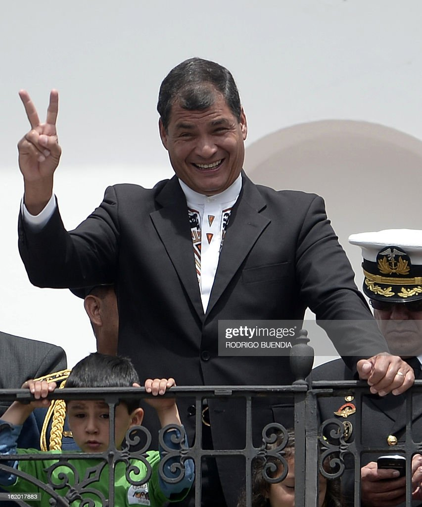 Ecuadorean President Rafael Correa celebrates his victory on Sunday's general election, at Carondelet presidential palace in Quito on February 18, 2013. Fresh from a landslide re-election victory, President Rafael Correa hoped Monday to match it with a sweeping legislative win needed to clear the way for deeper socialist changes in Ecuador.