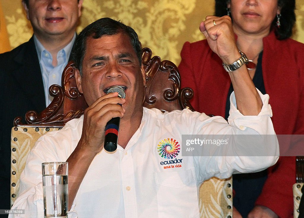 Ecuadorean President Rafael Correa delivers a speech to offer his condolences after knowing of Venezuelan President Hugo Chavez's death in Quito on March 5, 2013.