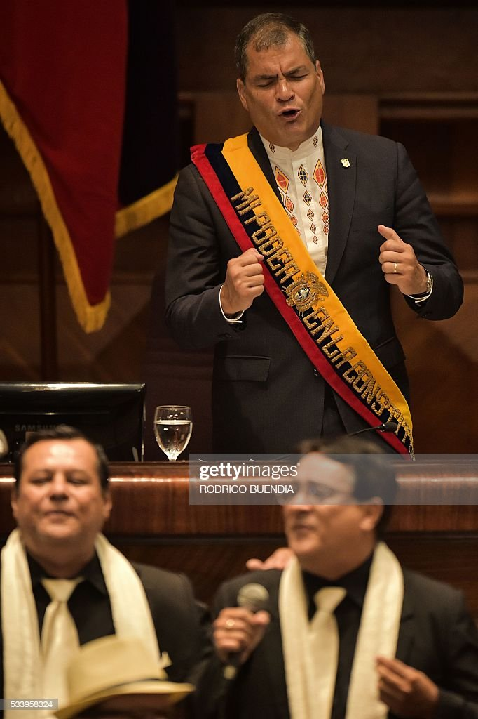 Ecuadorean President Rafael Correa delivers his annual message to the Nation before the National Assembly, the last of his administration, in Quito on May 24, 2016. / AFP / RODRIGO
