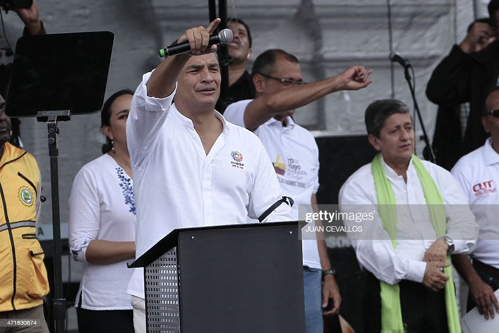 Ecuadorean President <a gi-track='captionPersonalityLinkClicked' href=/galleries/search?phrase=Rafael+Correa&family=editorial&specificpeople=2294079 ng-click='$event.stopPropagation()'>Rafael Correa</a> (C) speaks during the May Day celebrations on May 1, 2015 in Quito.