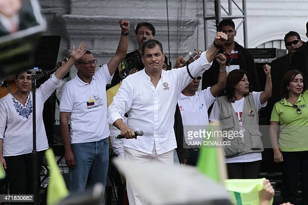 Ecuadorean President Rafael Correa speaks during the May Day celebrations on May 1 2015 in Quito AFP PHOTO/JUAN CEVALLOS