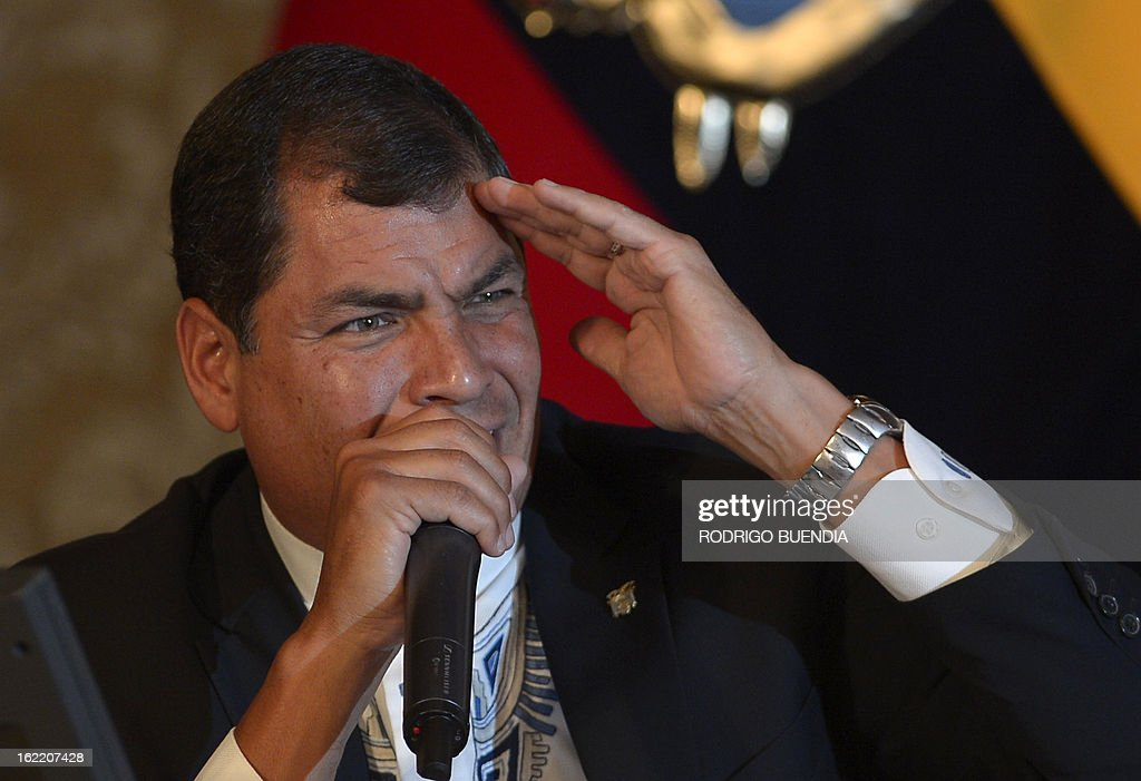 Ecuadorean President Rafael Correa speaks to the foreign press at the Carondelet presidential palace in Quito on February 20, 2013. During the meeting Correa informed he is planning to visit ailing Venezuelan President Hugo Chavez who on Monday returned to Caracas from a two-month trip to Cuba for cancer treatment.