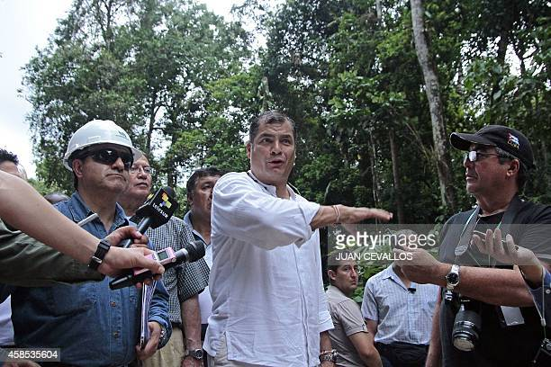 Ecuadorean President Rafael Correa speaks to the press about the advances of the project to exploit the Yasuni oil fields on November 6 2014 in...