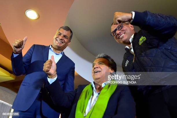 TOPSHOT Ecuadorean President Rafael Correa the presidential candidate of the ruling Alianza PAIS party Lenin Moreno and his runningmate Jorge Glas...