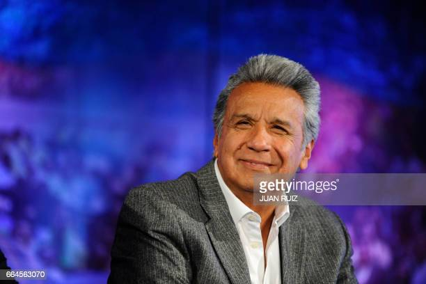 Ecuadorean Presidentelect Lenin Moreno receives the final official results of Sunday's runoff election at the House of Alianza Pais in Quito on April...