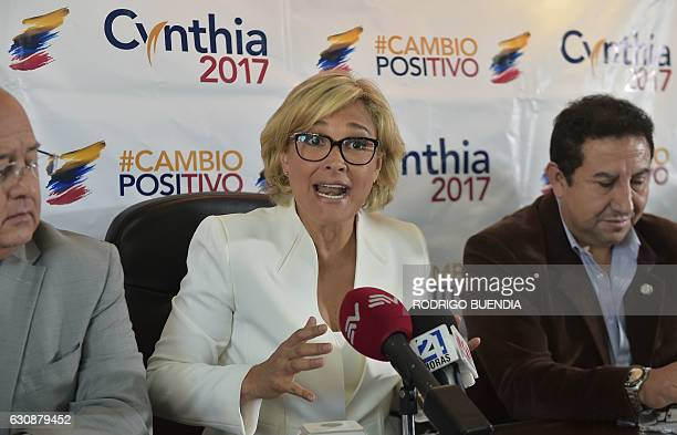 Ecuadorean presidential candidate Cynthia Viteri speaks during a meeting with artisans in Quito on January 3 2017 as campaigning opened for Ecuador's...