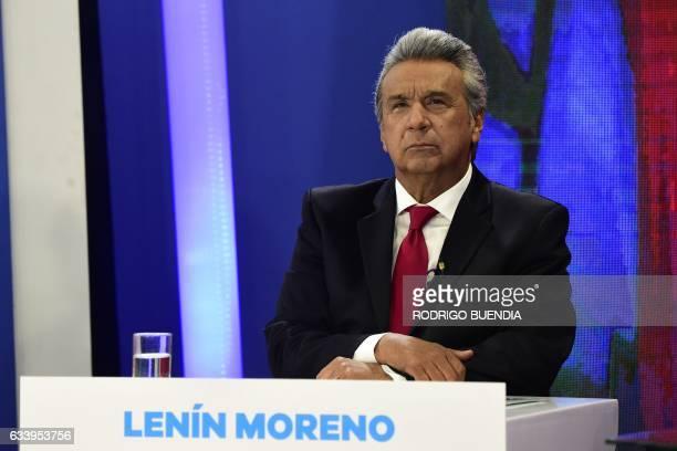 Ecuadorean presidential candidate for the 'Alianza Pais' Lenin Moreno participates in a televised debate in Quito February 5 2017 / AFP / RODRIGO...
