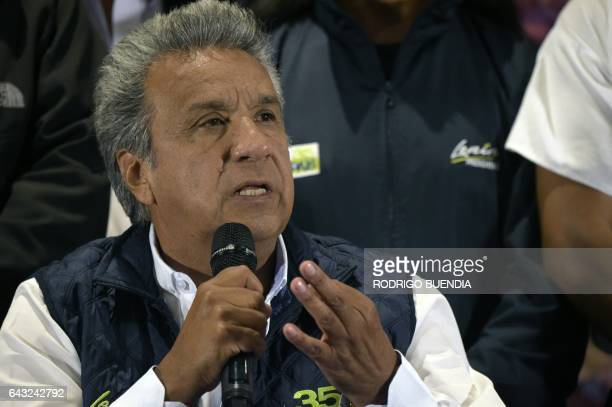 Ecuadorean presidential candidate for the Alianza Pais party Lenin Moreno speaks during a press conference in Quito on February 20 the day after...