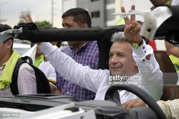 Ecuadorean presidential candidate for the Alianza Pais party Lenin Moreno takes part in a motorcade in Guayaquil Ecuador on February 22 2017...