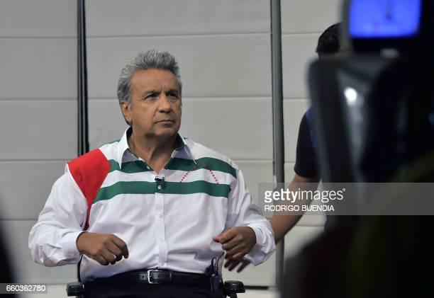 Ecuadorean presidential candidate for the Alianza Pais party Lenin Moreno speaks during an interview with AFP in Manta Ecuador on March 29 2017...