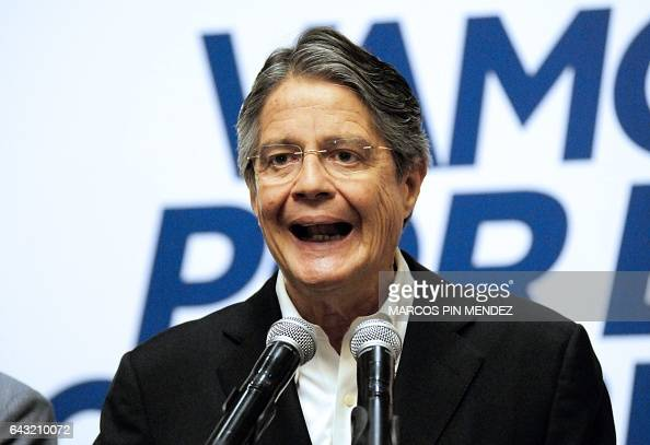 Ecuadorean presidential candidate for the CREO party Guillermo Lasso speaks during a press conference in Guayaquil Ecuador on February 20 the day...