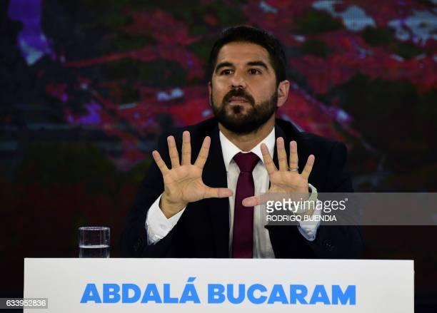 Ecuadorean presidential candidate for the Ecuadorian Roldosist Party Abdala Bucaram participates in a televised debate in Quito February 5 2017 / AFP...