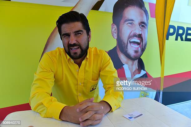 Ecuadorean presidential candidate for the 'Fuerza Ecuador' party Dalo Bucaram speaks during an interview with AFP in Guayaquil Ecuador on January 15...