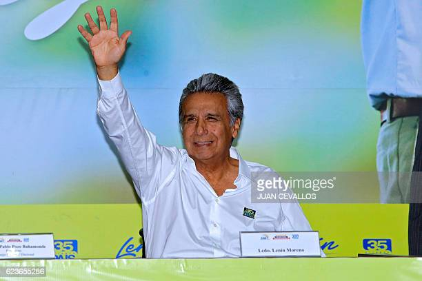 Ecuadorean presidential candidate for the ruling Alianza Pais party Lenin Moreno waves after registering his candidacy for 2017 elections in Quito on...